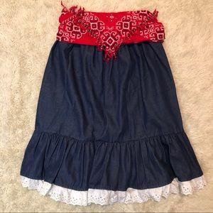Dresses & Skirts - Vintage Handmade Denim Skirt w/ Bedazzled Bandana